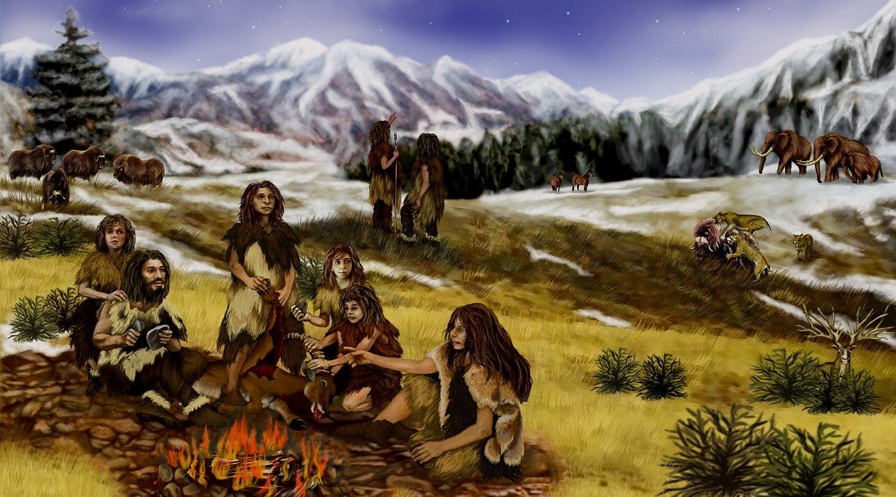 What did our ancestors eat?. Ancient humans gathered around fire